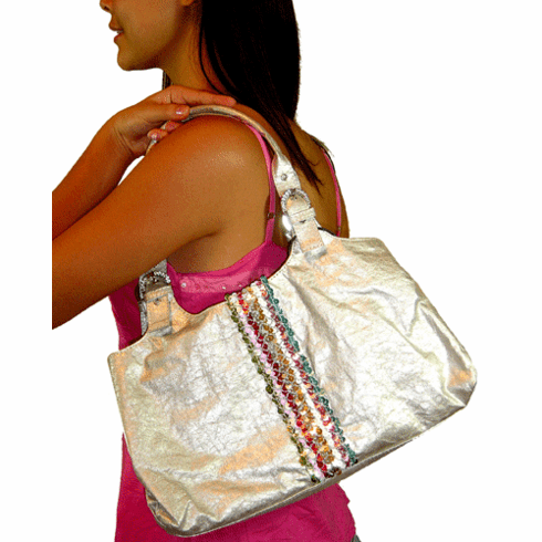 Bagtique Silver Leather Sequined Bag
