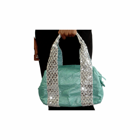 Bagtique Turquoise Leather Sequined Doctor's Bag