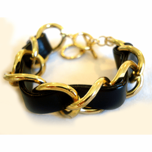 Braided Chain Bracelet (Black and Gold)