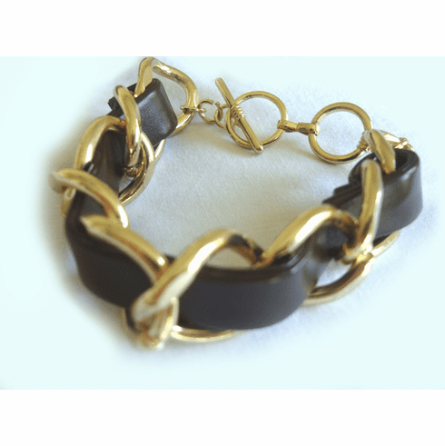Braided Chain Bracelet (Brown and Gold)