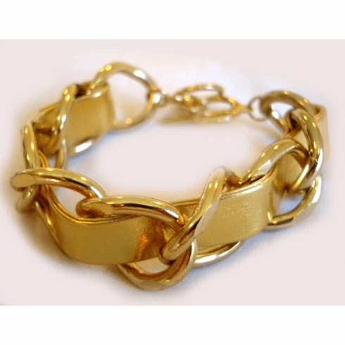 Braided Chain Bracelet (Metallic Gold and Gold)