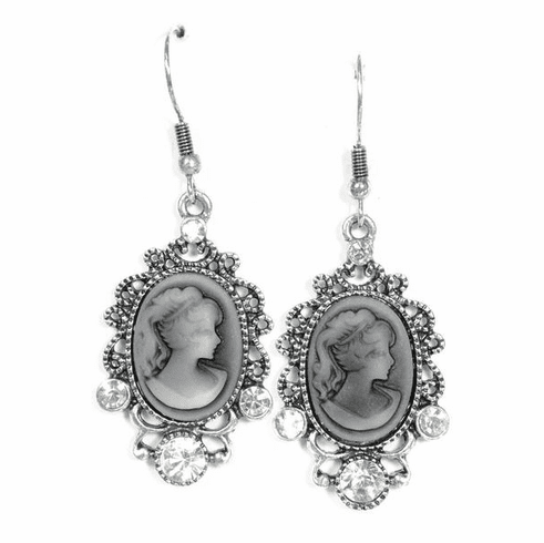 Crystal Cameo Vintage Style Drop Earrings