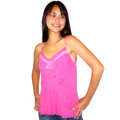 Da-Nang Hot Pink Sequined Diamond Tank