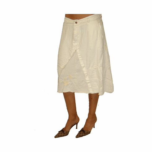 Da-Nang White Silk Paisley Embroidered Stitch Skirt