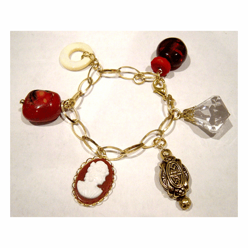 Duran Crain Crimson Red and Gold Charm Bracelet
