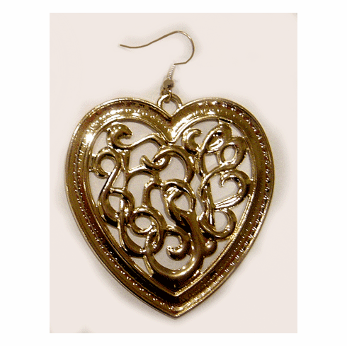 Fashion Bliss Carved Large Heart Earrings