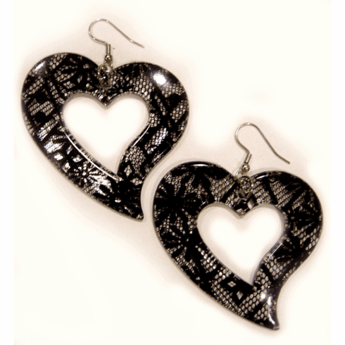 Fashion Bliss Lace Lucite Heart Earrings