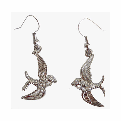 Fashion Bliss Silver Swallow Earrings