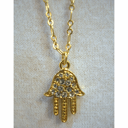 Hamsa Hand Crystal Necklace - Gold