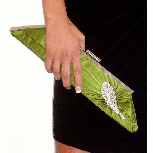 Inge Christopher Green Silk Tafetta Clutch with Brooch