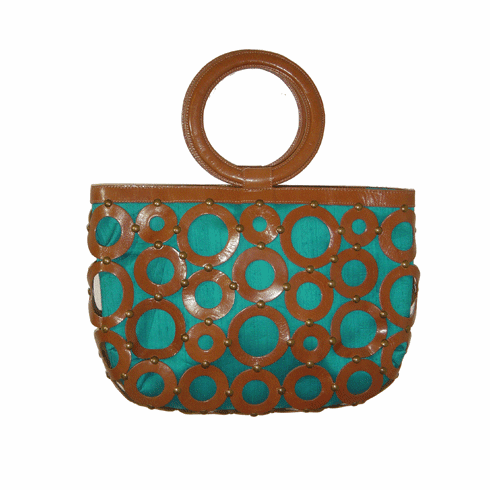 Inge Christopher Large Urban Leather Circles and Turquoise Silk Tote