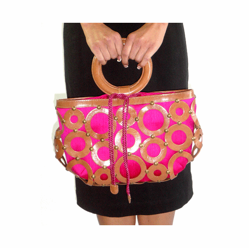 Inge Christopher Medium Urban Leather Circles and Fuschia Silk Tote