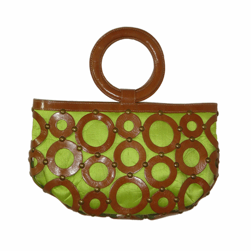 Inge Christopher Medium Urban Leather Circles and Lime Silk Tote