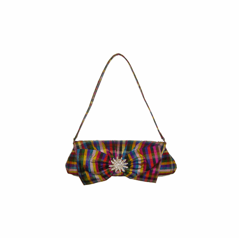 Inge Christopher Plaid Silk Brooch Handbag
