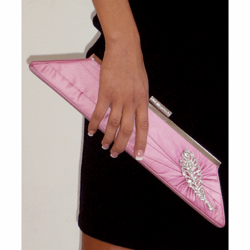Inge Christopher Rose Pink Silk Tafetta Clutch with Brooch