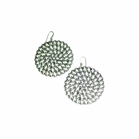 Kipepeo Antique Silver Roundel Earrings