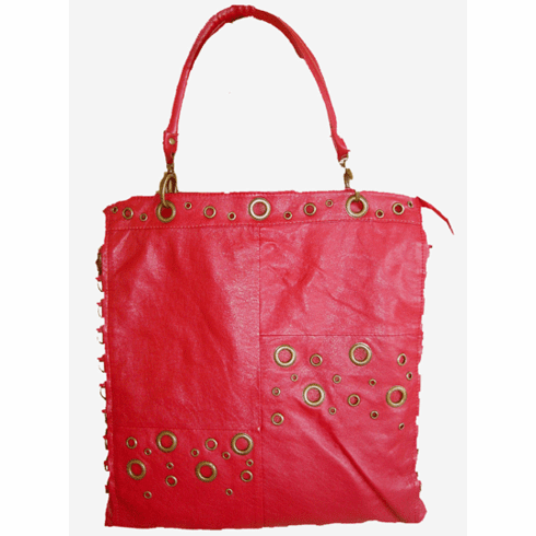 Large Red Grommet Design Crossbody Tote