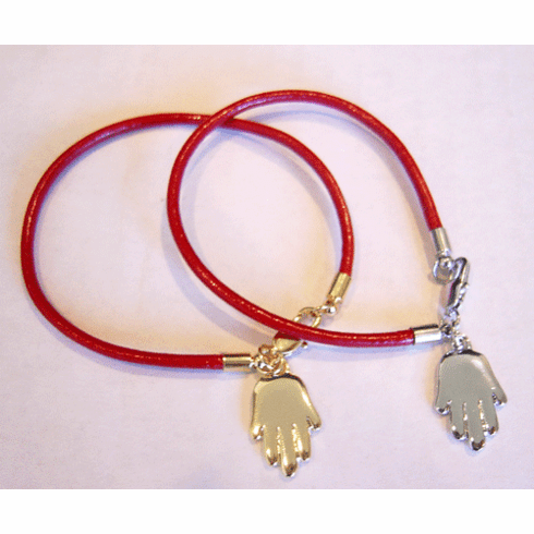 Leather Hamsa Hand Red String Bracelet
