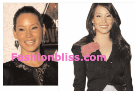Lucy Liu in Kipepeo Leaf Earrings
