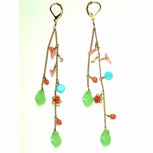 Lydell NYC Coral and Turquoise Earrings