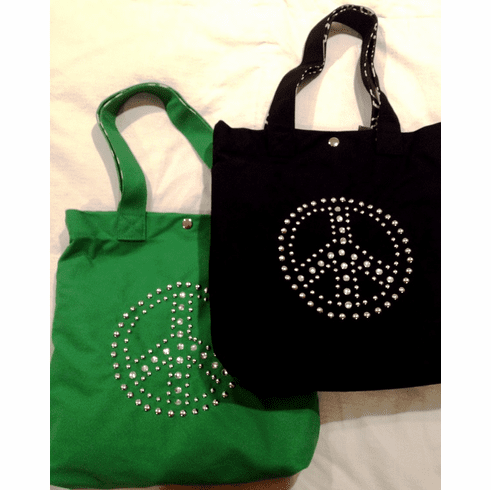 Peace Crystal and Studded  Canvas Tote (2 Colors)