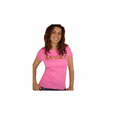 "Rock Solid ""Lucky"" Pink Short Sleeve Crew"