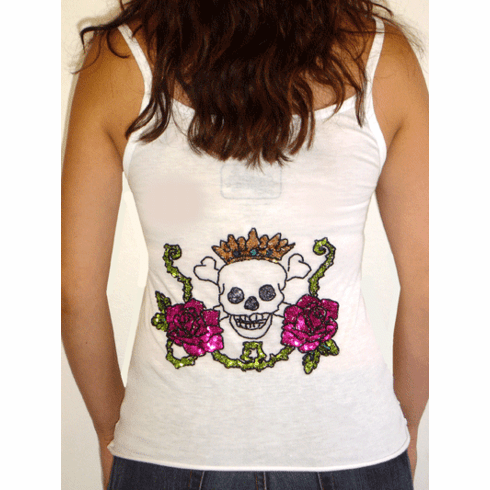 "Rock Solid ""Rock and Roll"" and Skulls Long White Tank"
