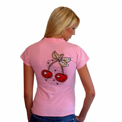 Rock Solid Sequined Sweet Cherry Pink Fitted Tee