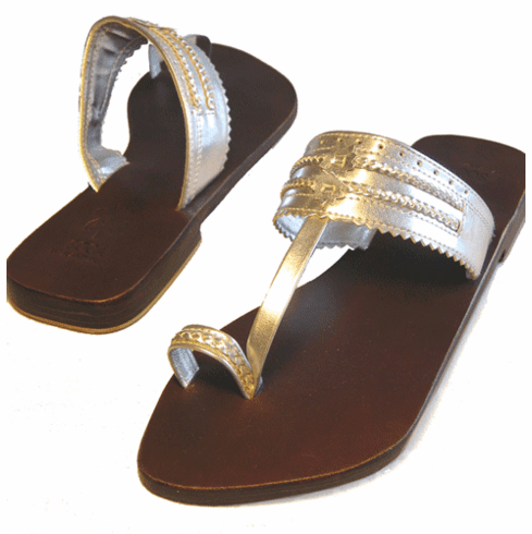 Silver Leather Moroccan Sandals