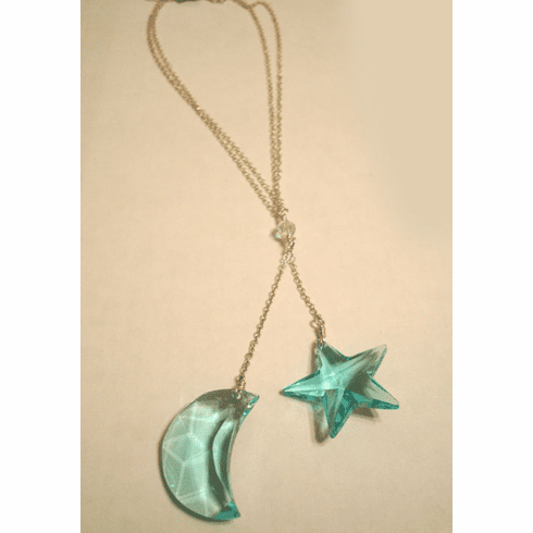 Swarovski Crystal Aqua Moon and Star Necklace