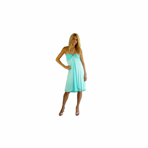Sweetees Turquoise Chloe Halter Dress
