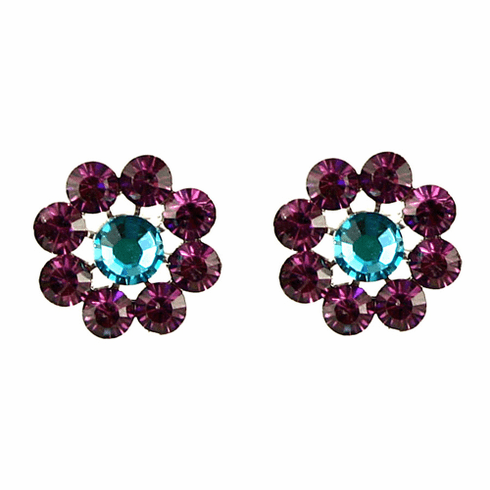 Tarina Tarantino Crystal Flower Earrings - Amethyst and Blue