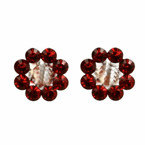 Tarina Tarantino Crystal Flower Earrings - Gold and Red