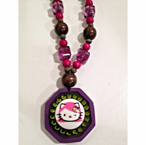 Tarina Tarantino Hello Kitty Pink Head Wood Pendant Necklace