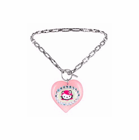 Tarina Tarantino Pink Lucite Puff Heart Pink Head Toggle Necklace