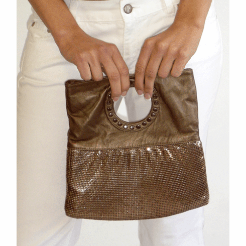 Whiting and Davis Bronze Ring Flap Mesh with Leather