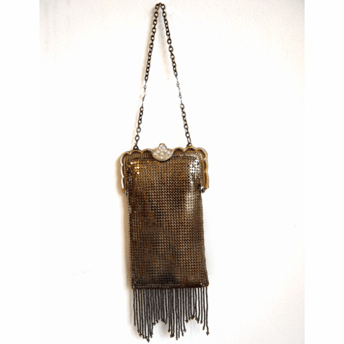 Whiting and Davis Mesh Antique Gold Purse