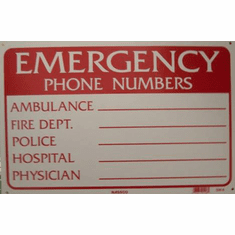 Emergency Phone Number Sign