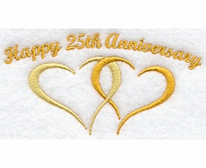 25th Anniversary Embroidery Design hank4