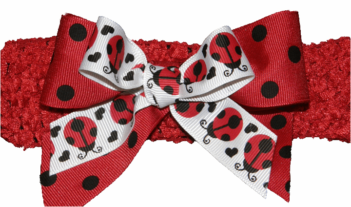 Adorable Lady Bug Bow with Red Crochet Headband