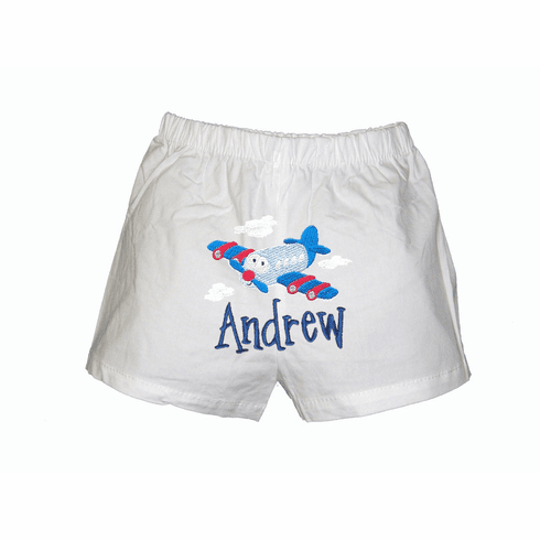 Airplane Personalized  Your Baby's Name Baby Infant Boxers White