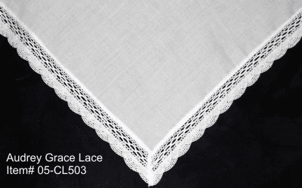 Audrey Grace Fan White Lace Handkerchief