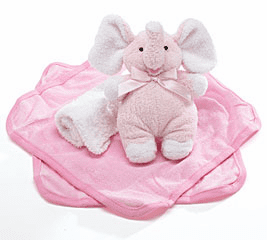 Baby Girl Pink Plush Rattle with Washcloths