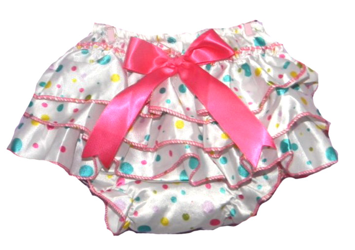 ad389e828 Baby Sized Satin Diaper Cover Polka-Dot   Ruffles 3 Color Choices