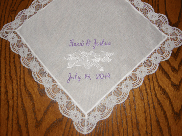 Beautiful Custom Doves White Wedding Handkerchief