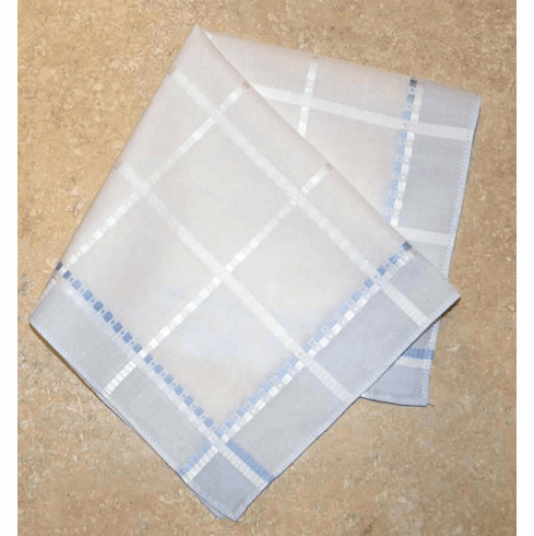 Beautiful European Woven Jacquard Light Blue and White Ladies Handkerchief
