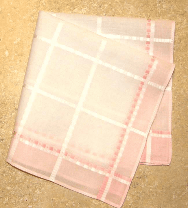 Beautiful European Woven Jacquard Light Pink and White Ladies Handkerchief f
