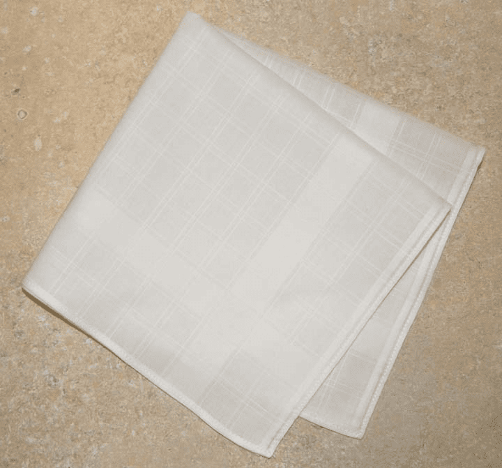 Beautiful European Woven Jacquard White on White Ladies Handkerchief