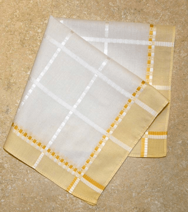 Beautiful European Woven Jacquard Yellow and White Ladies Handkerchief.
