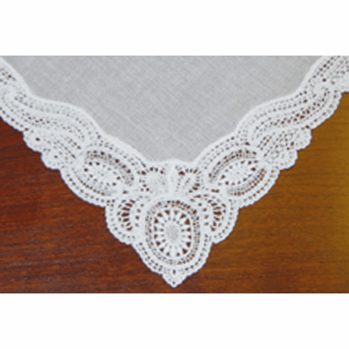 Beautiful Guipure Lace Trimmed White Bridal Handkerchief